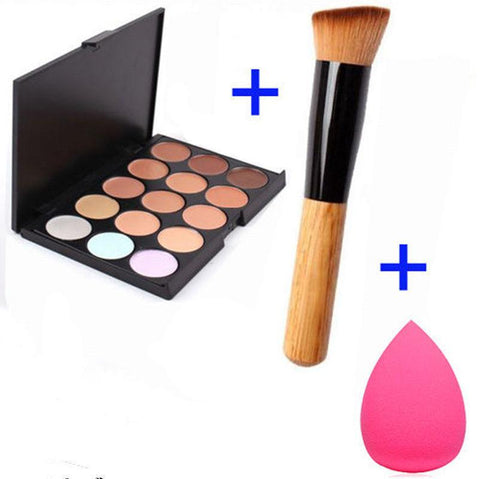 Colors Contour Face Cream Makeup+Sponge Puff +Powder Brush <FREE SHIPPING> - 247onlinemall