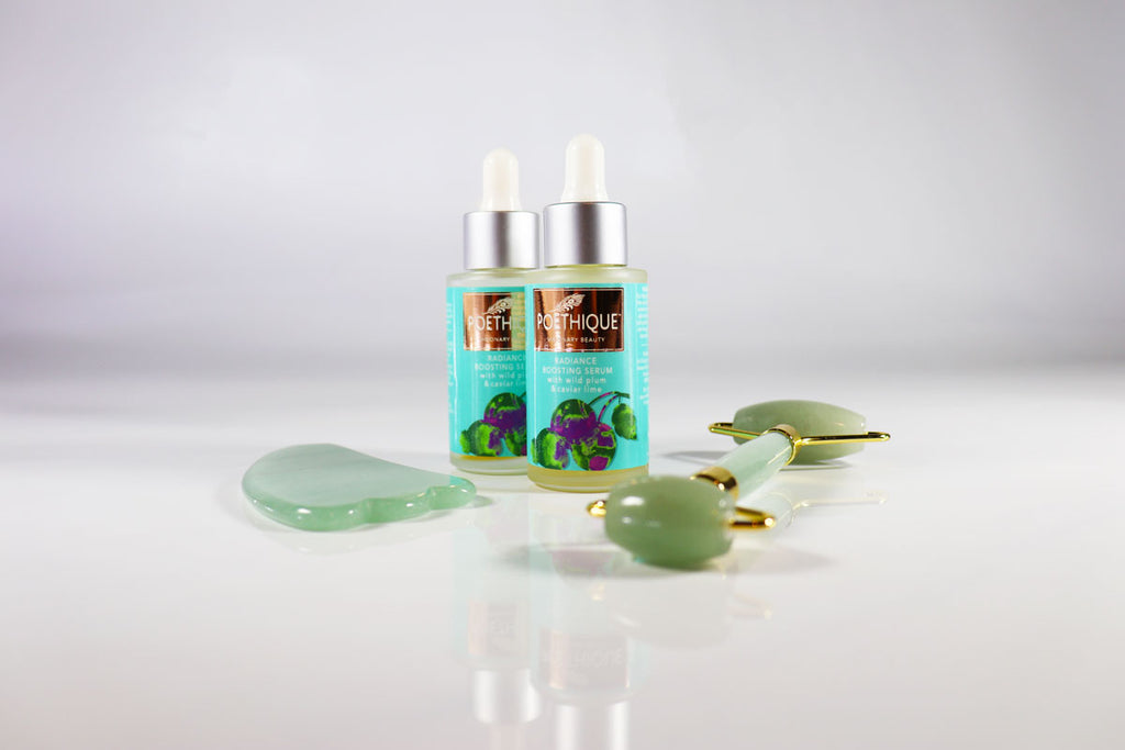 poethique radiance boosting serum with gua-sha and facial roller