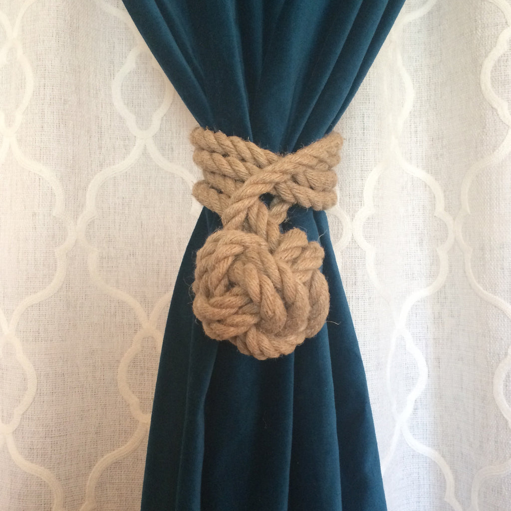 Drapery tieback created from hemp rope crafted into a decorative knot. American made. Hand made.