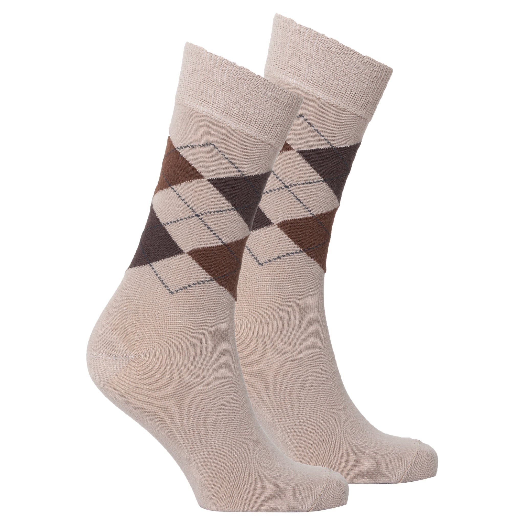 Men's Beige Argyle Socks