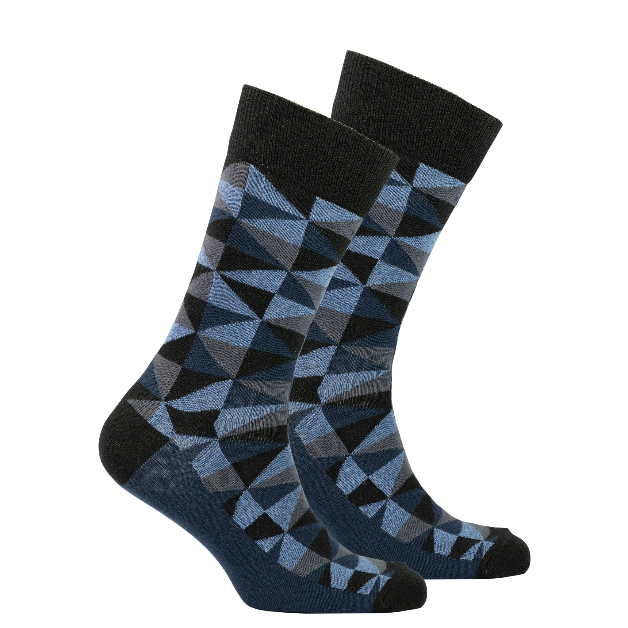 Men's Azure Triangle Socks black and blue