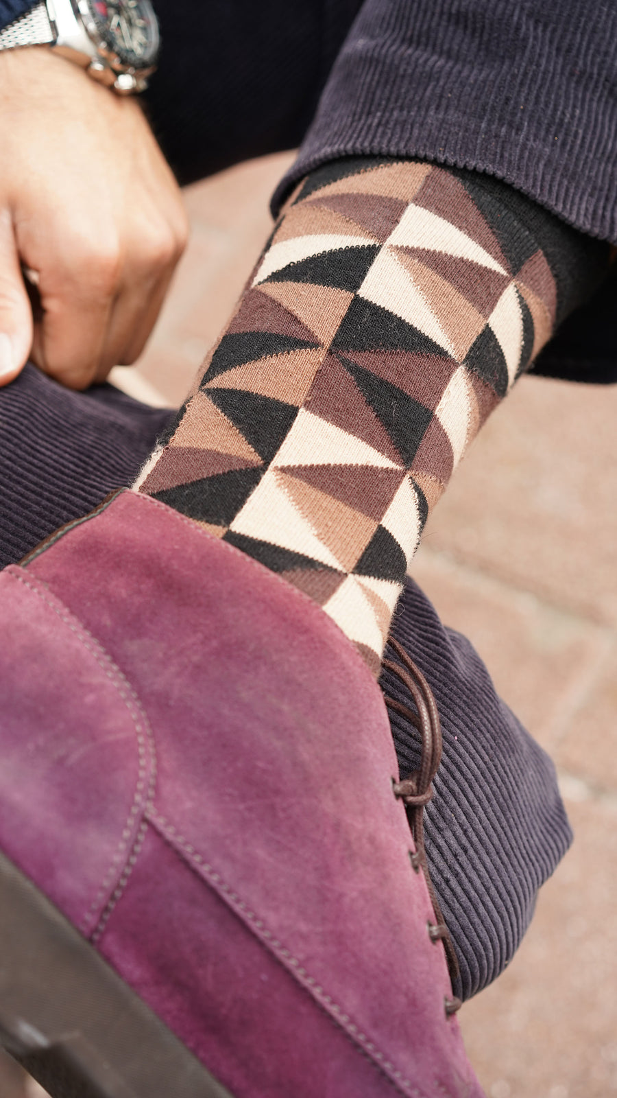 Men's Sand Triangle Socks black and brown