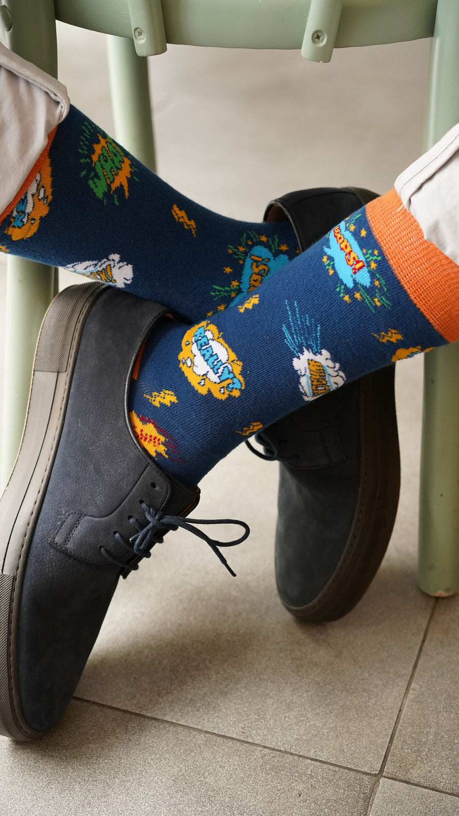 Men's Comics Socks orange and blue