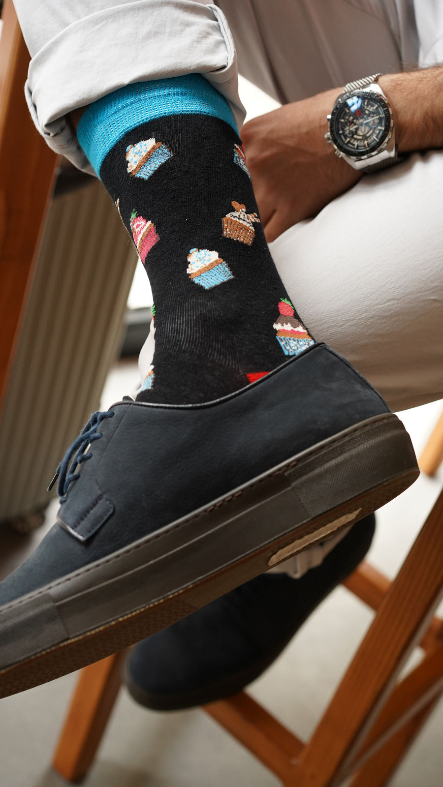 Men's Cupcake Socks black blue yellow