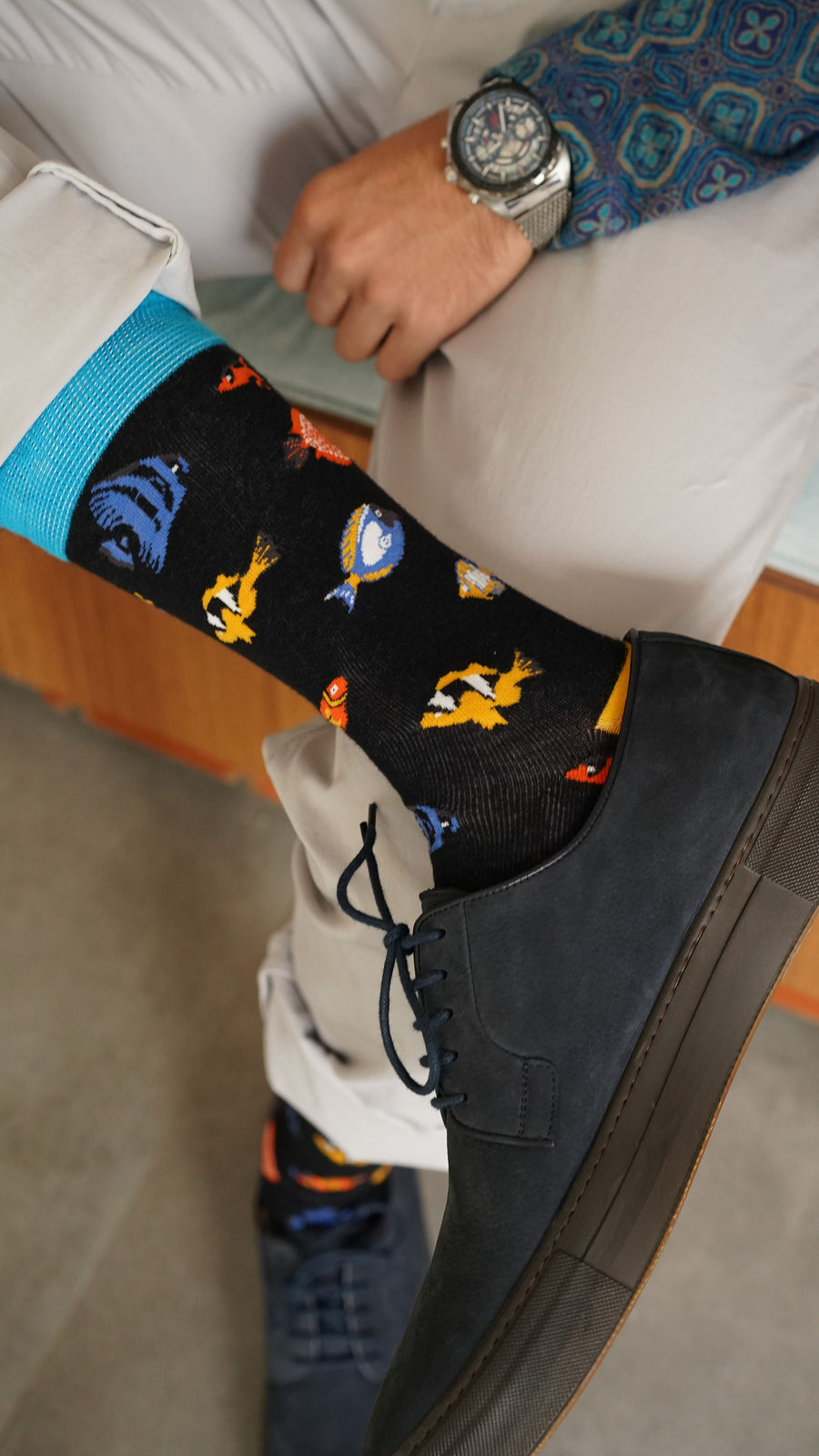 Men's Fish Socks blue black orange
