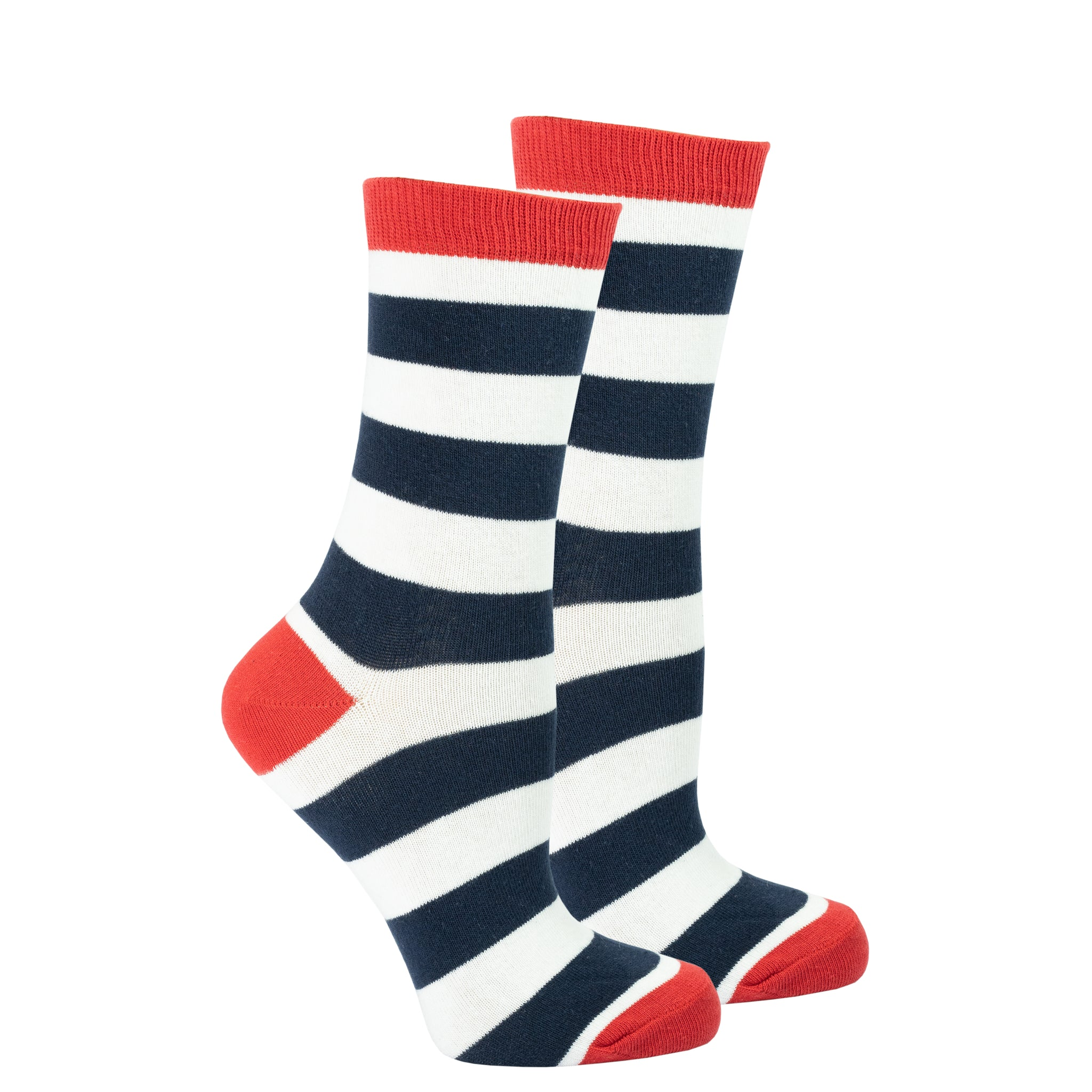 Women's Navy-White Stripes Socks