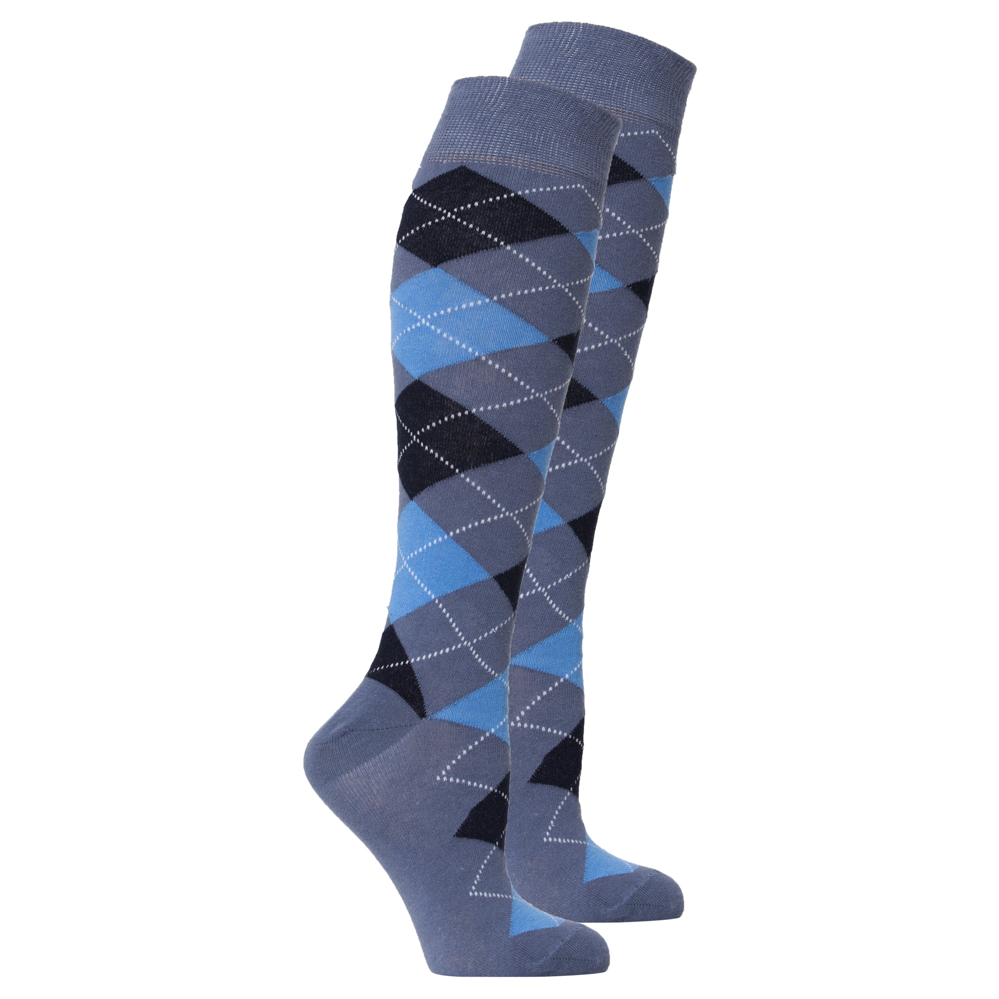 Women's Palace Blue Argyle Knee High Socks