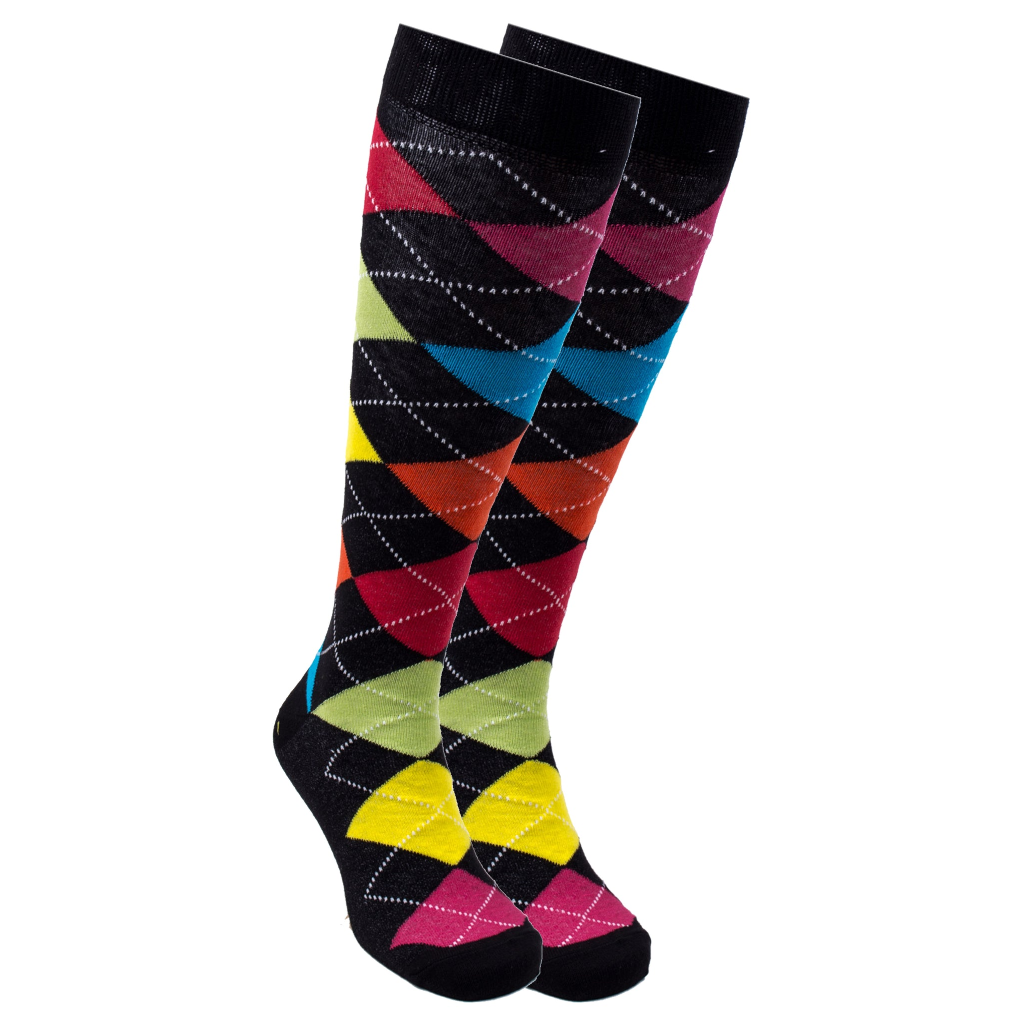 Women's Mixed Black Argyle Knee High Socks