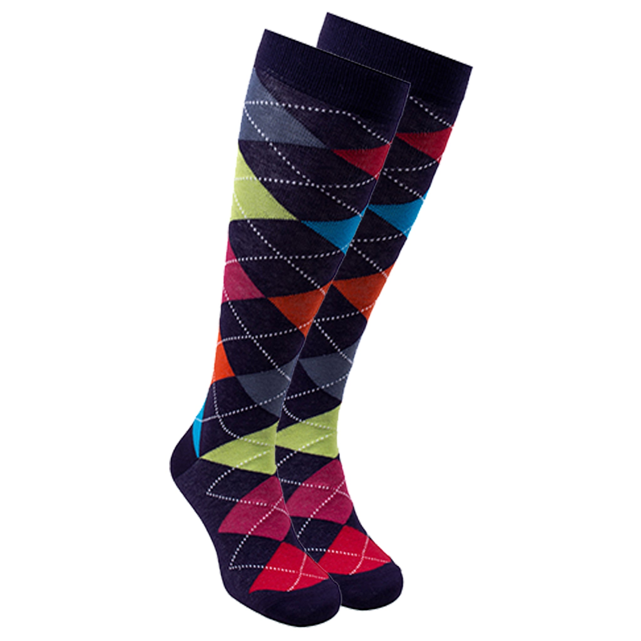 Women's Mixed Navy Argyle Knee High Socks