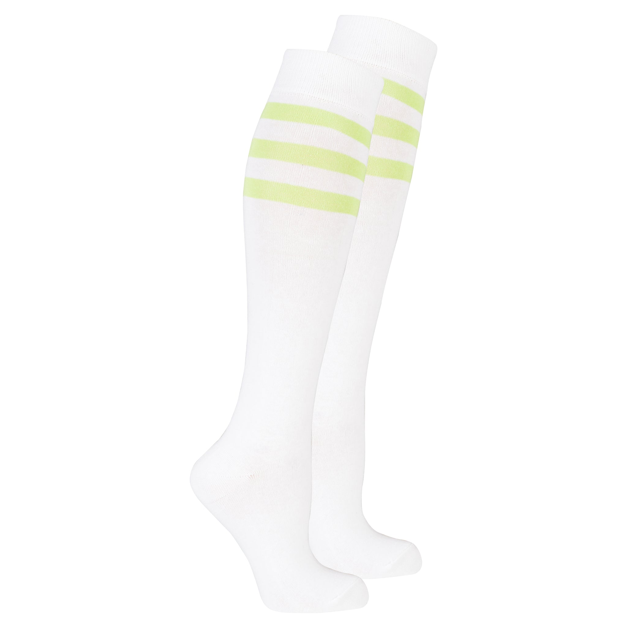 Women's Solid Green Stripe Knee High Socks
