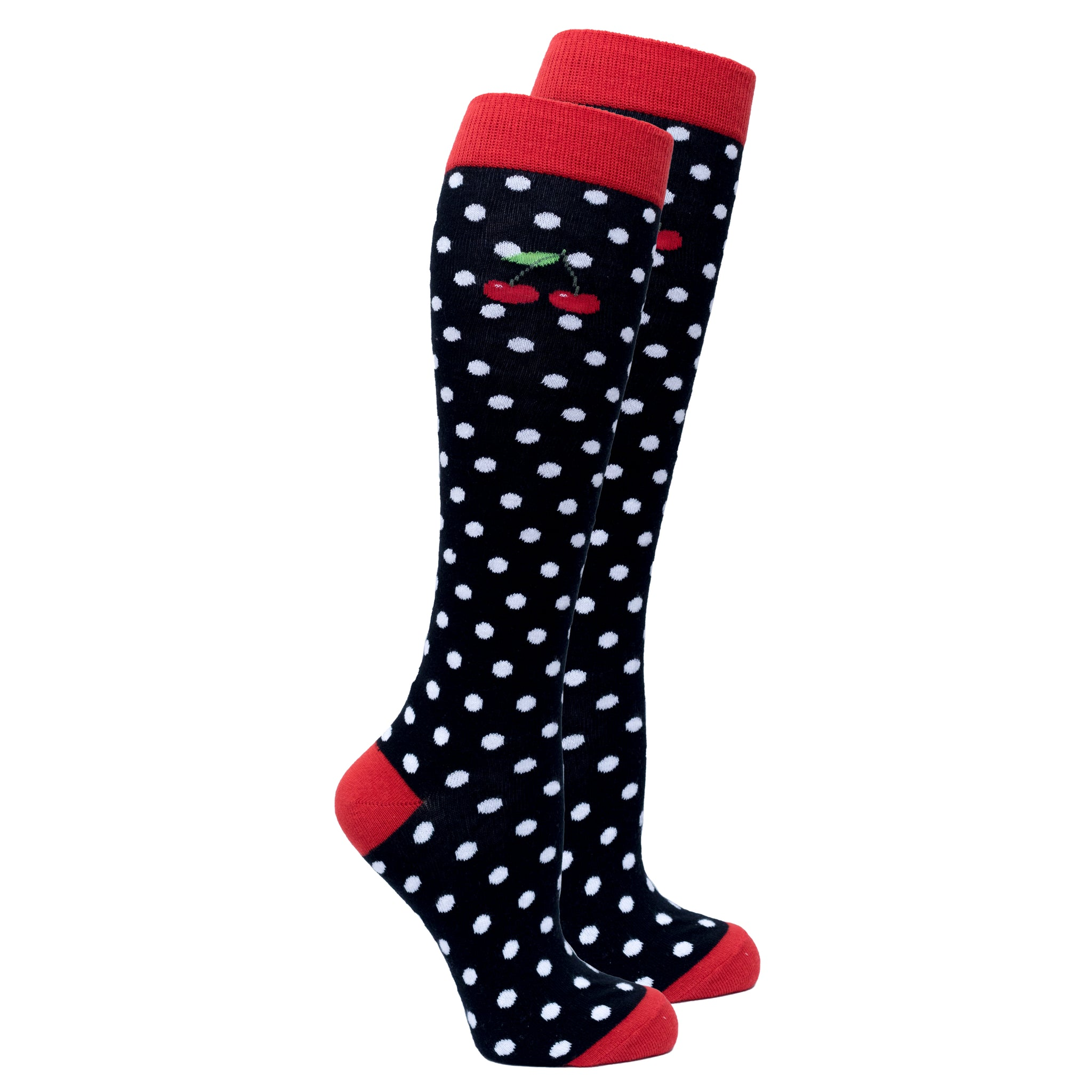Women's Cherry Dot Knee High Socks