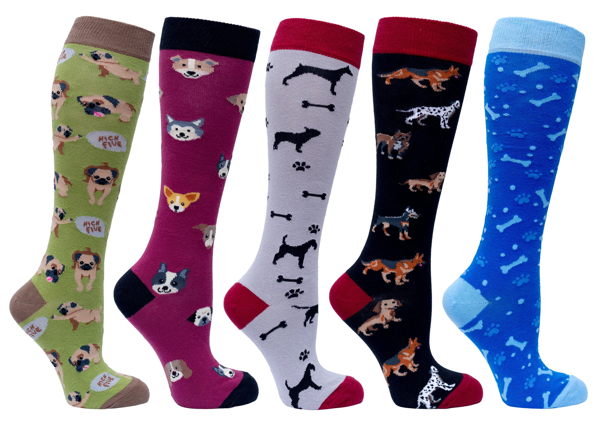 Women's Cute Dogs Knee High Socks Set colourful