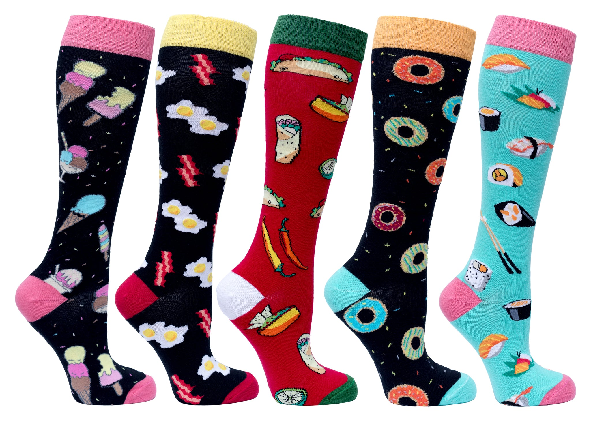 Women's Fast Food Knee High Socks Set colourful
