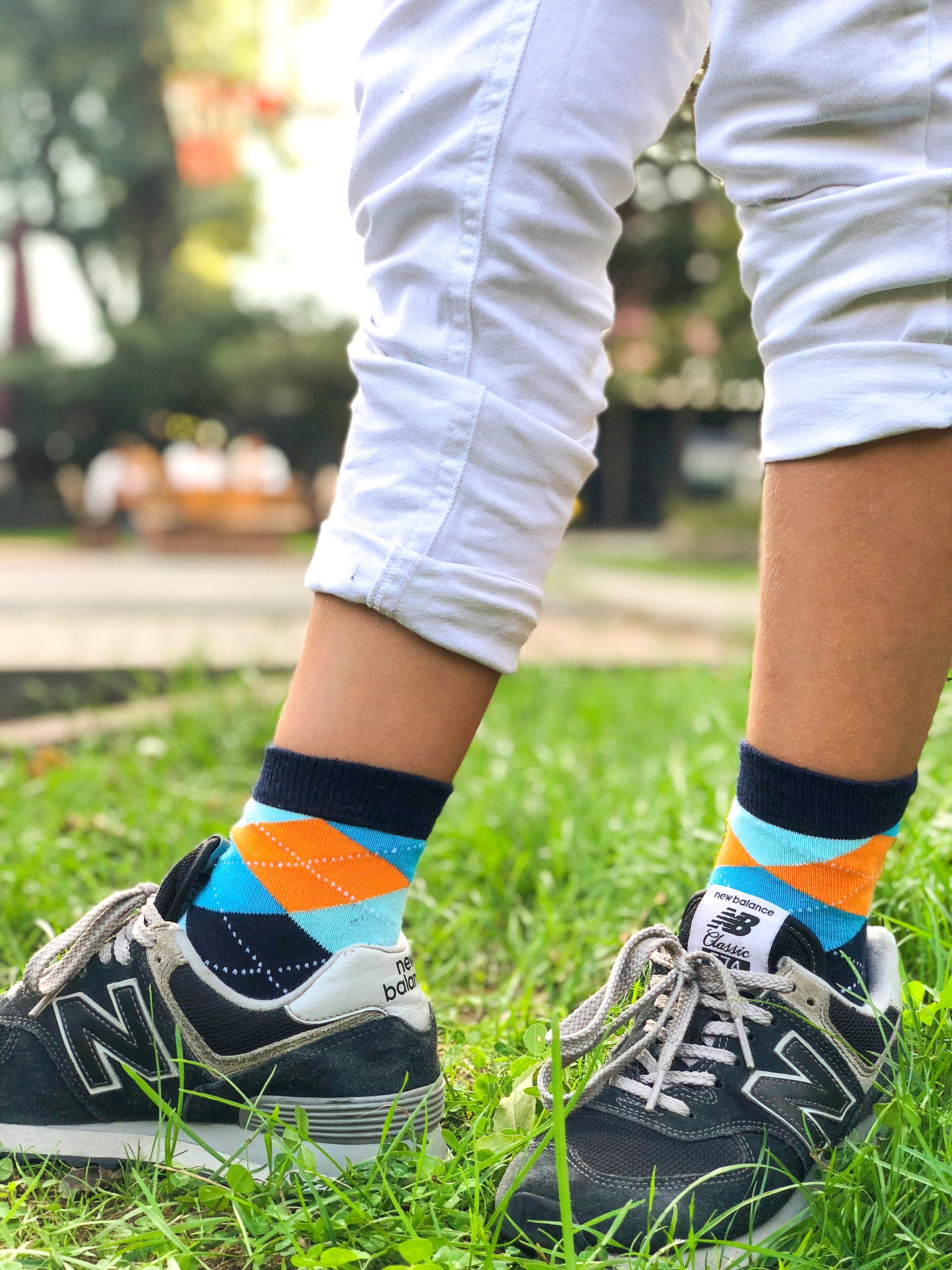 Kids Vibrant Sky Argyle Socks
