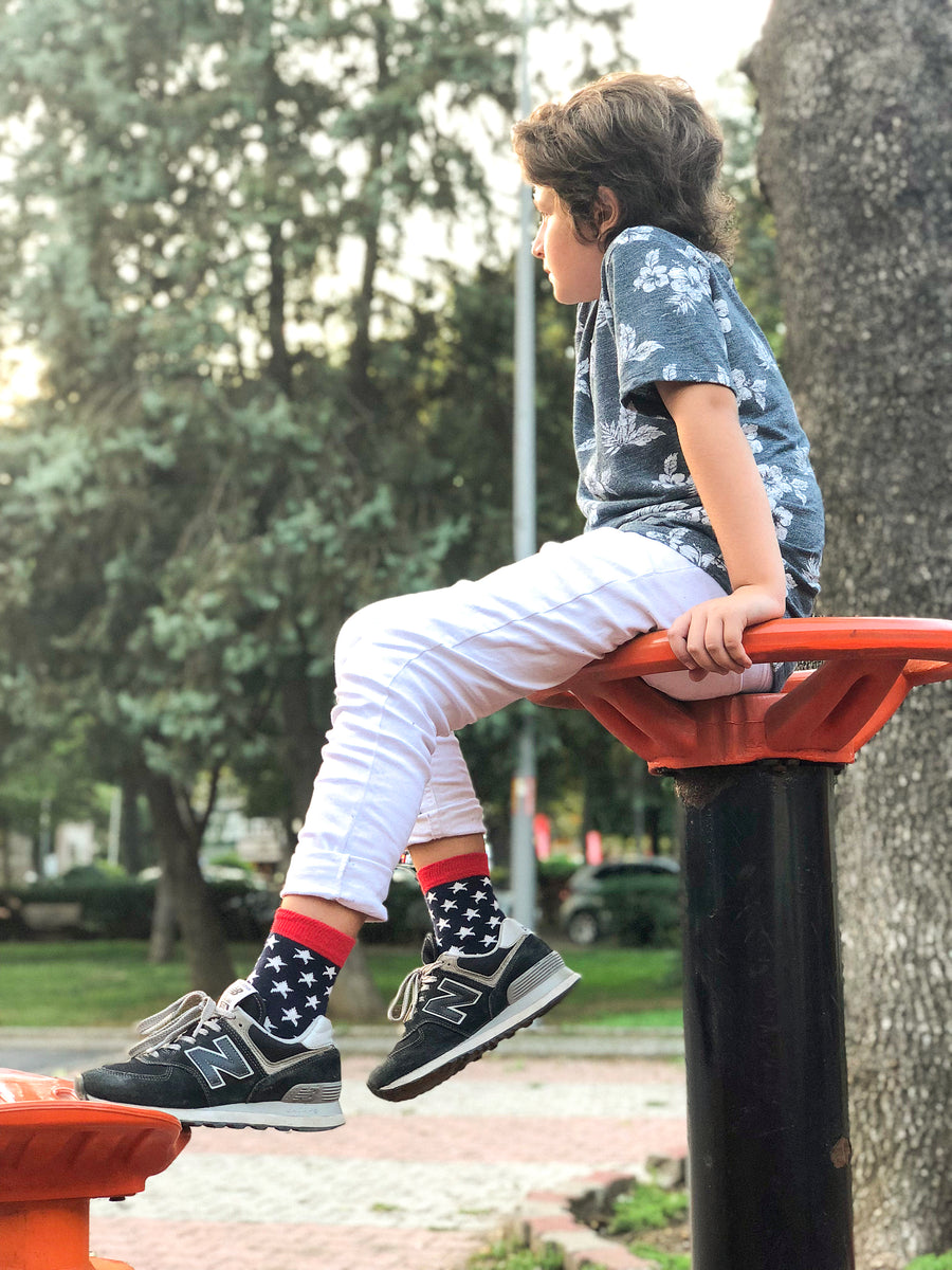 Kids Usa Patriotic Stars Socks