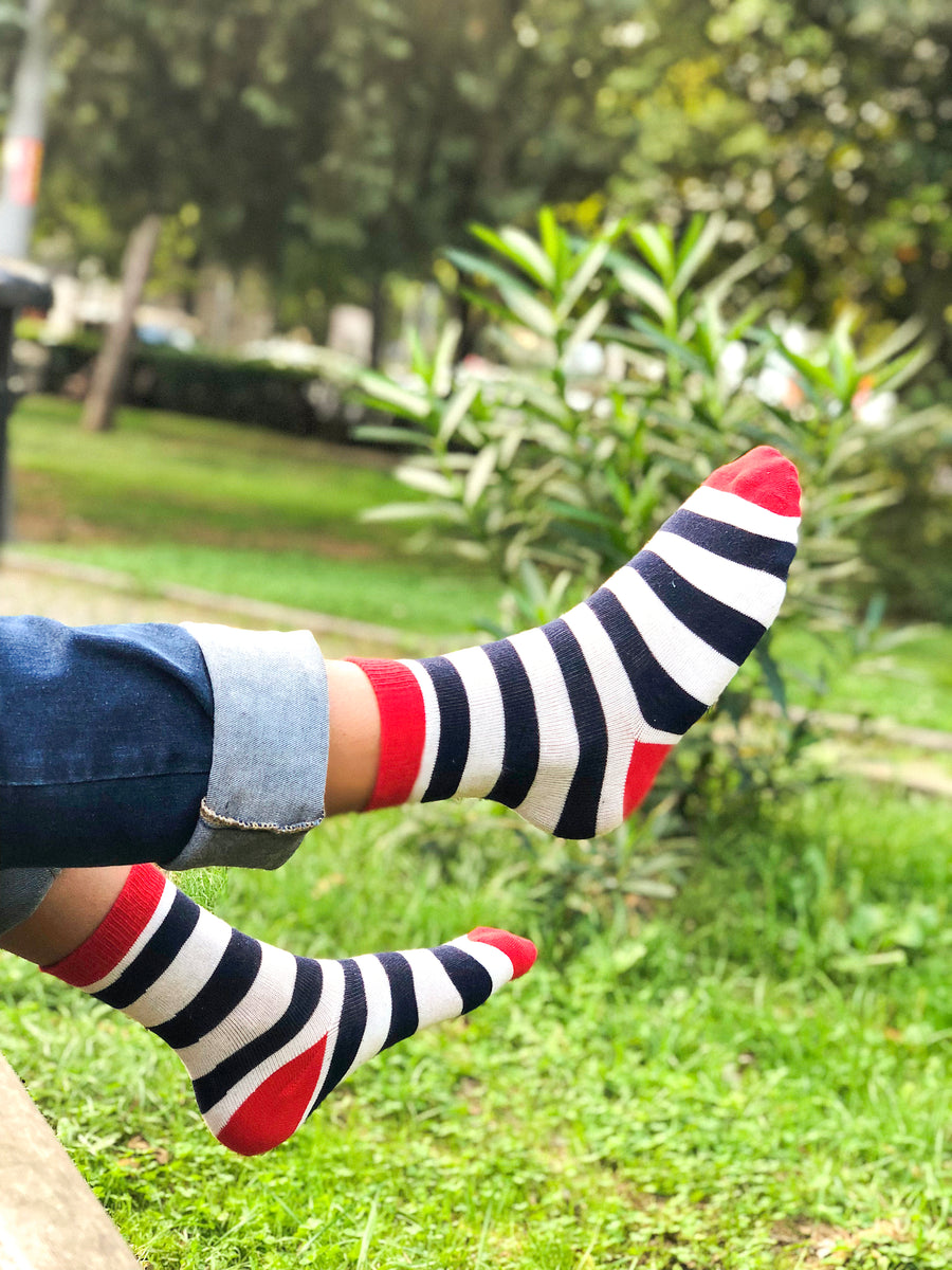 Kids Navy-White Stripes Socks