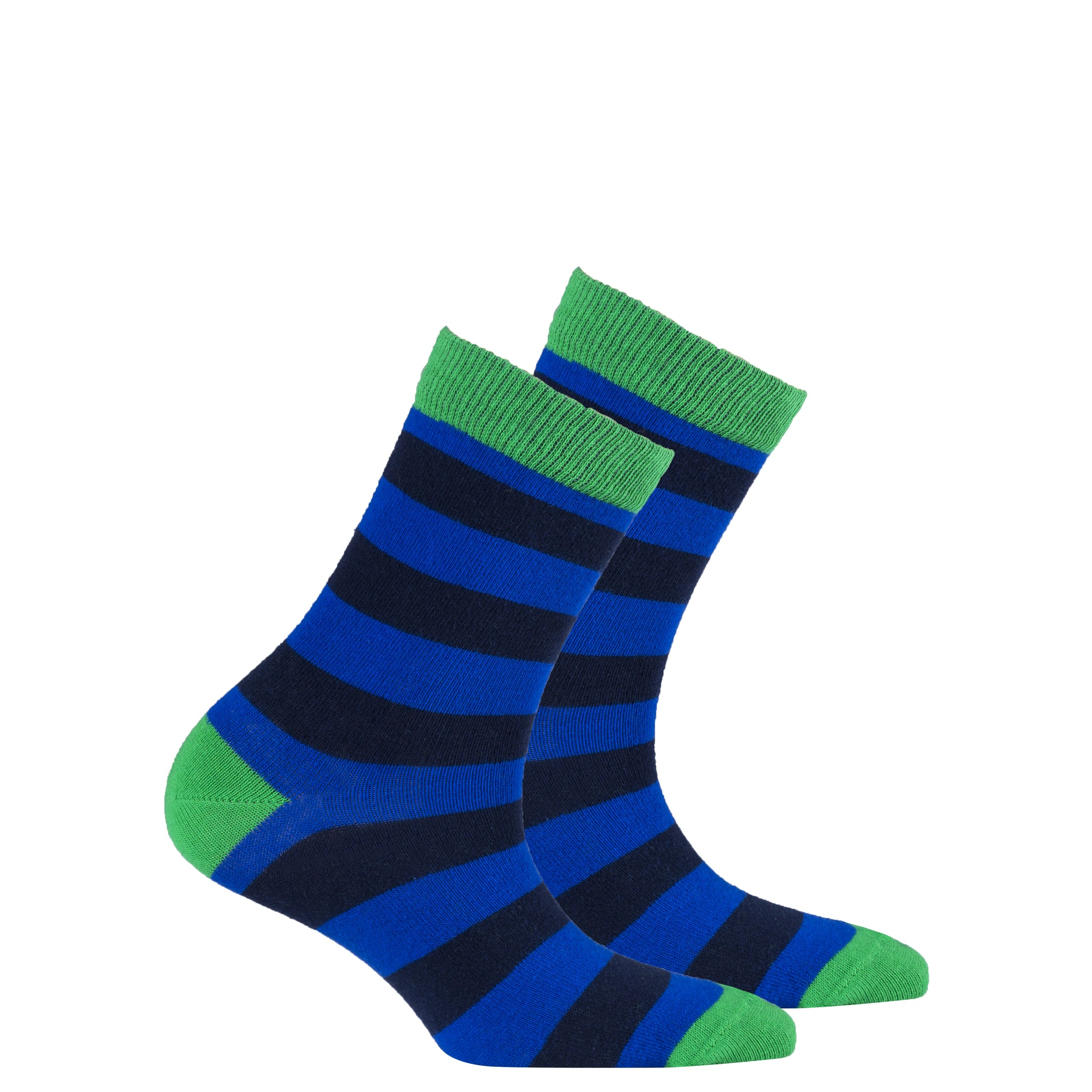 Kids Navy Emerald Stripe Socks