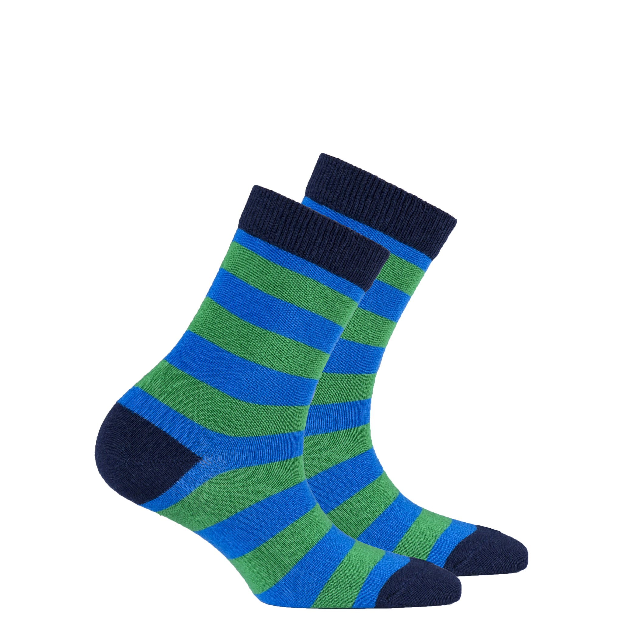 Kids Blue Grass Stripe Socks