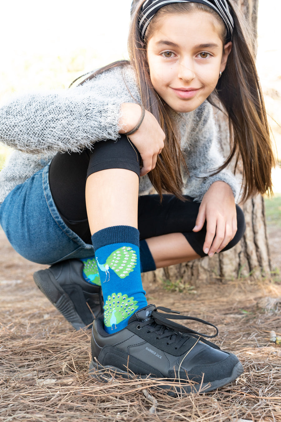 Kids Peacock Socks blue and green