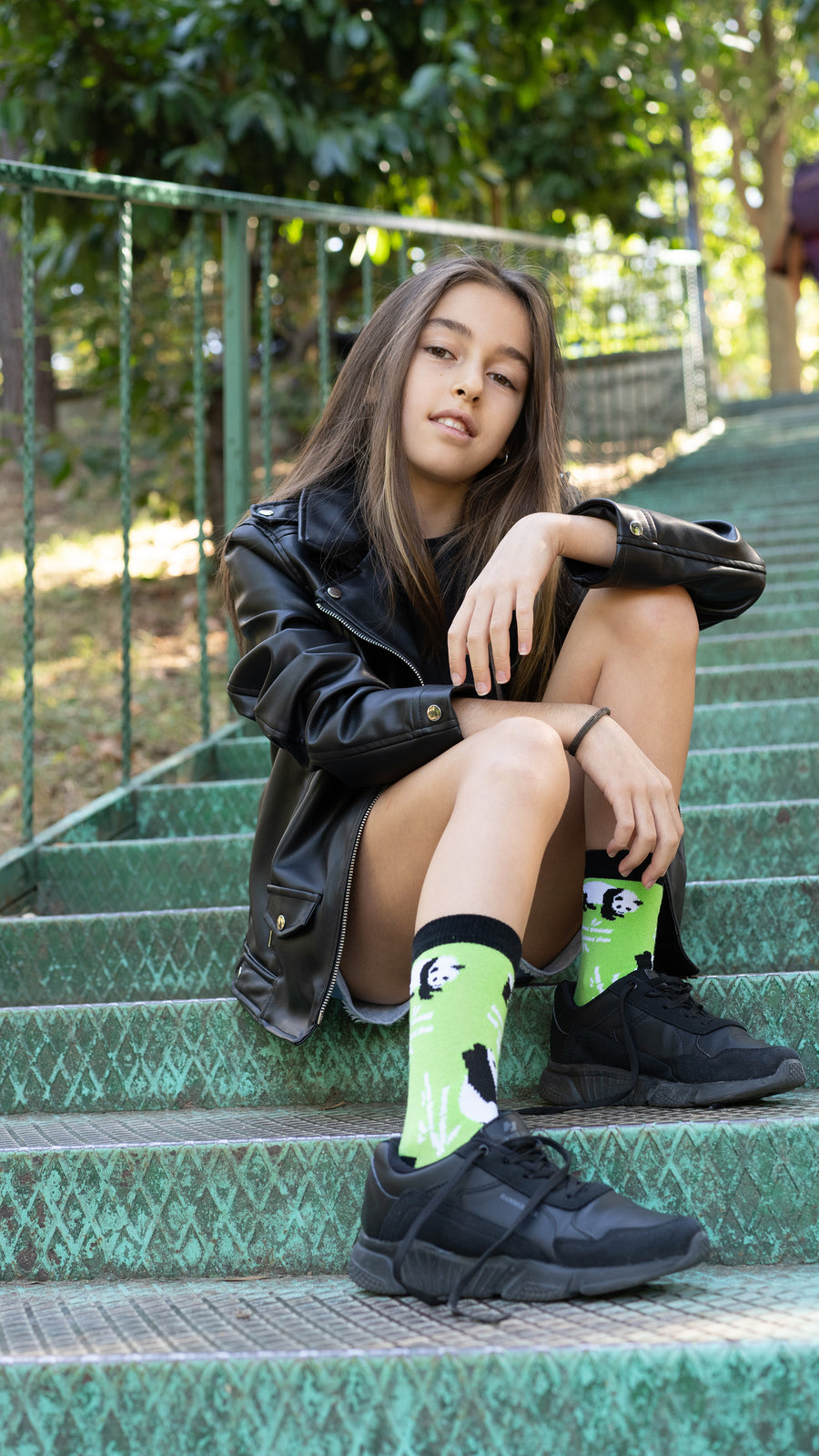 Kids Silly Panda Socks green and black