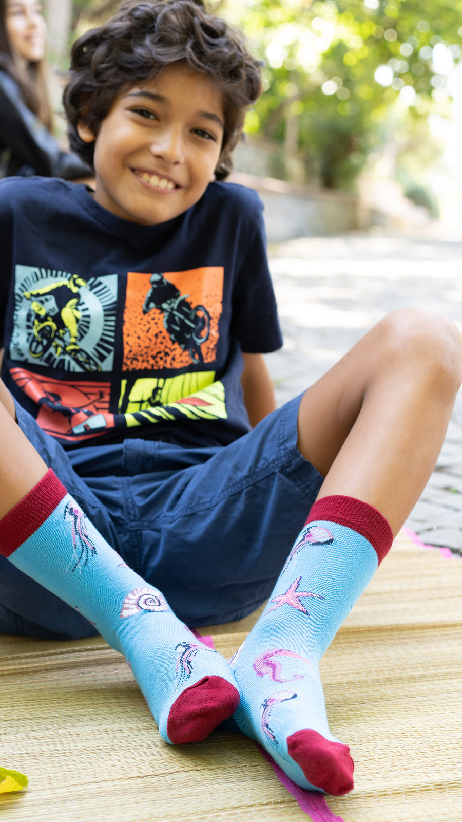 Kids Jellyfish  Socks red and blue