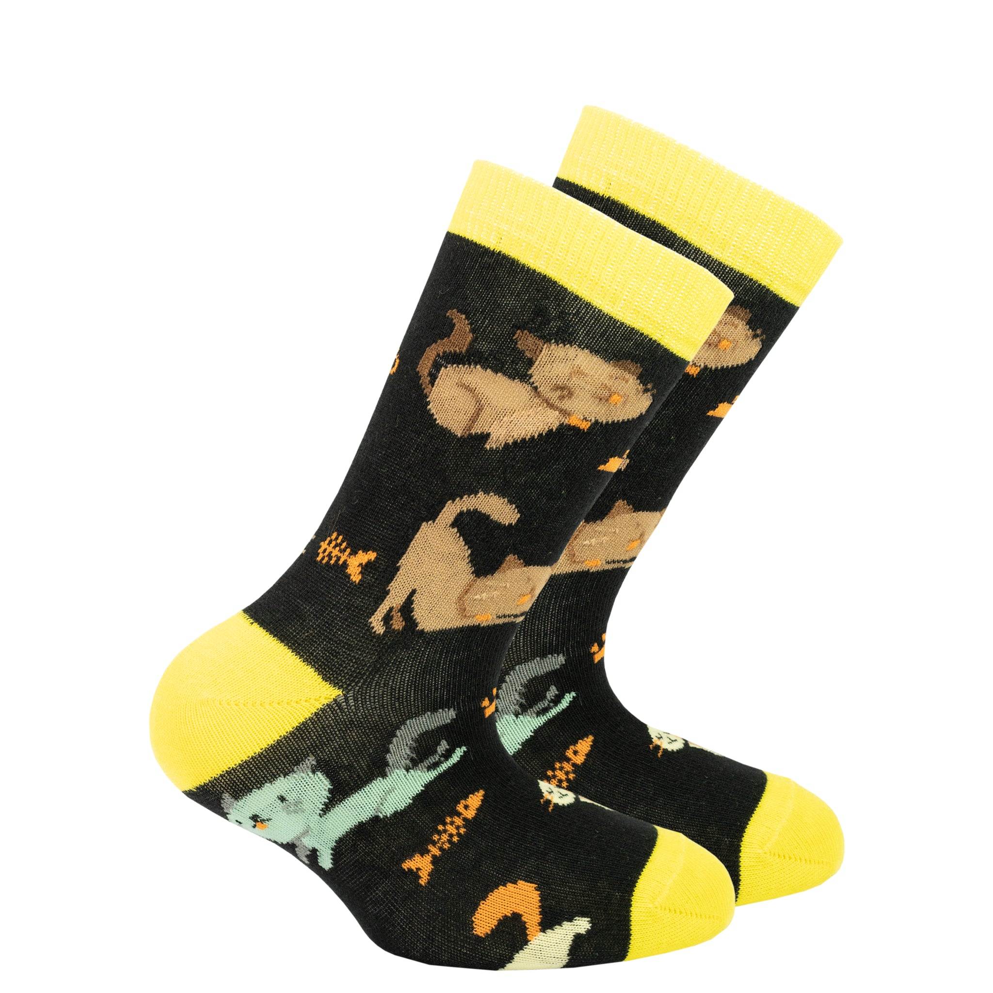 Kids Kittens Socks black and yellow