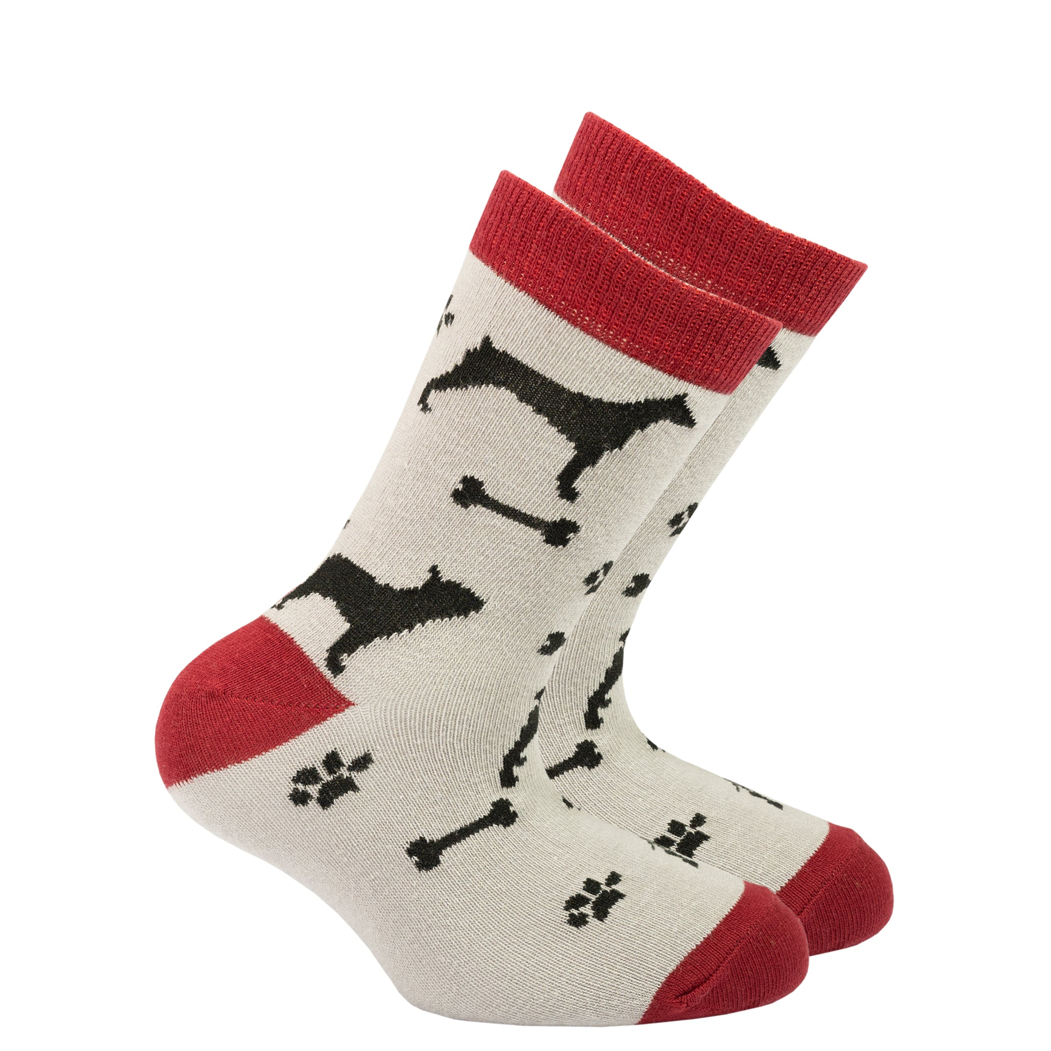 Kids Shadow Dog  Socks grey and red