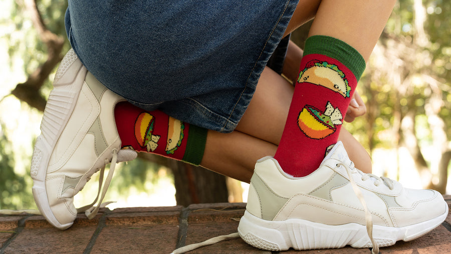 Kids Chili Tacos Socks red and green