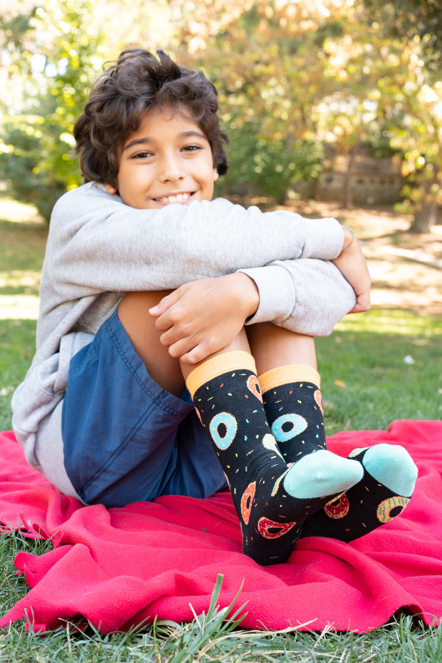 Kids Donuts Socks black and teal