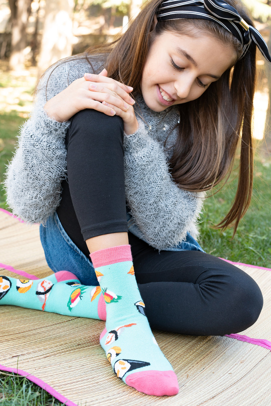 Kids Sushi Time Socks pink and teal