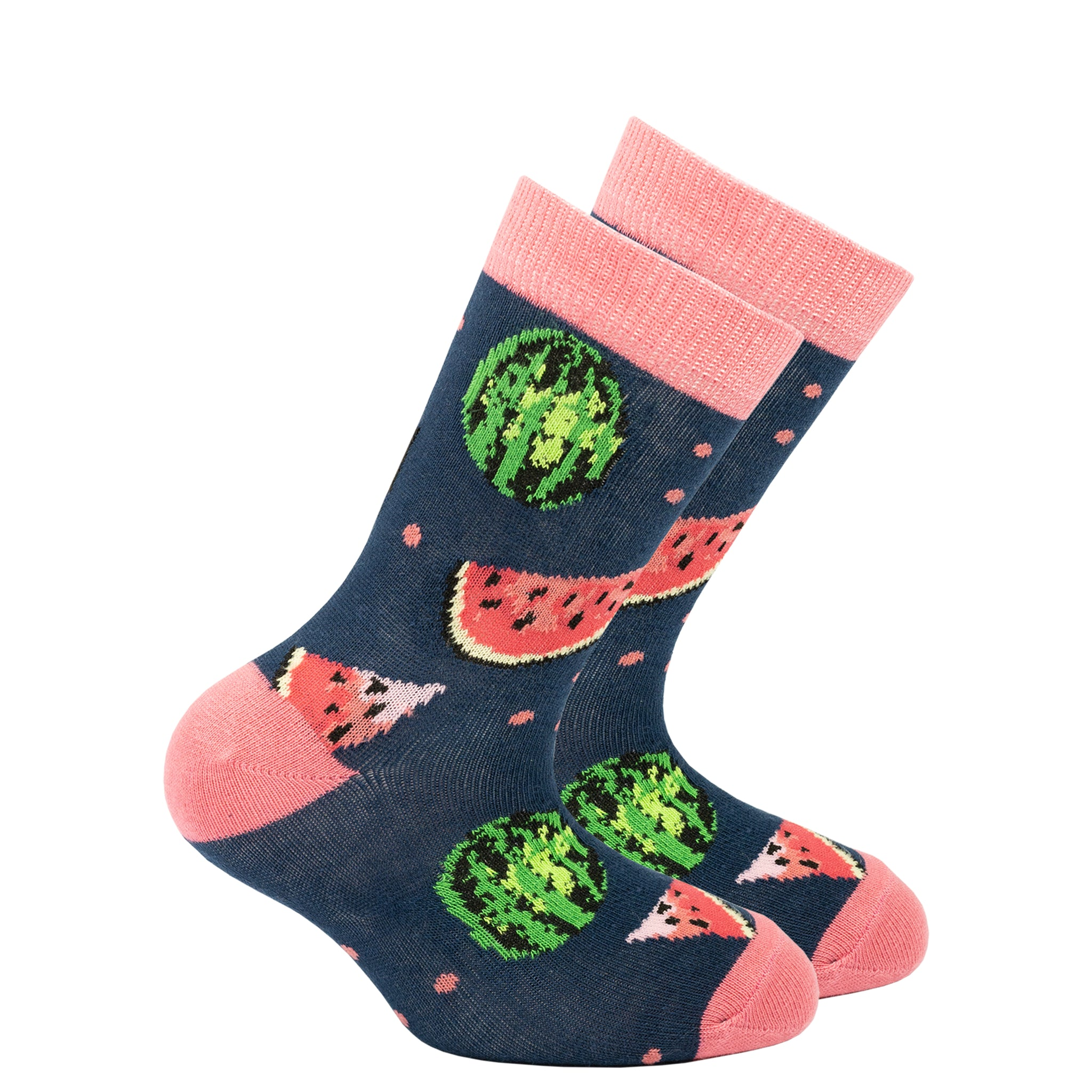 Kids Watermelon Socks navy and pink