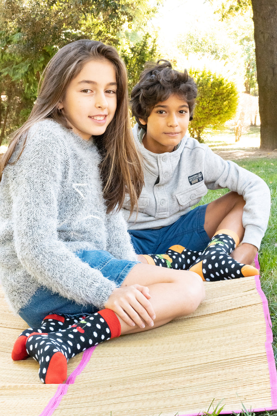 Kids Cherry Dot Socks black red and white