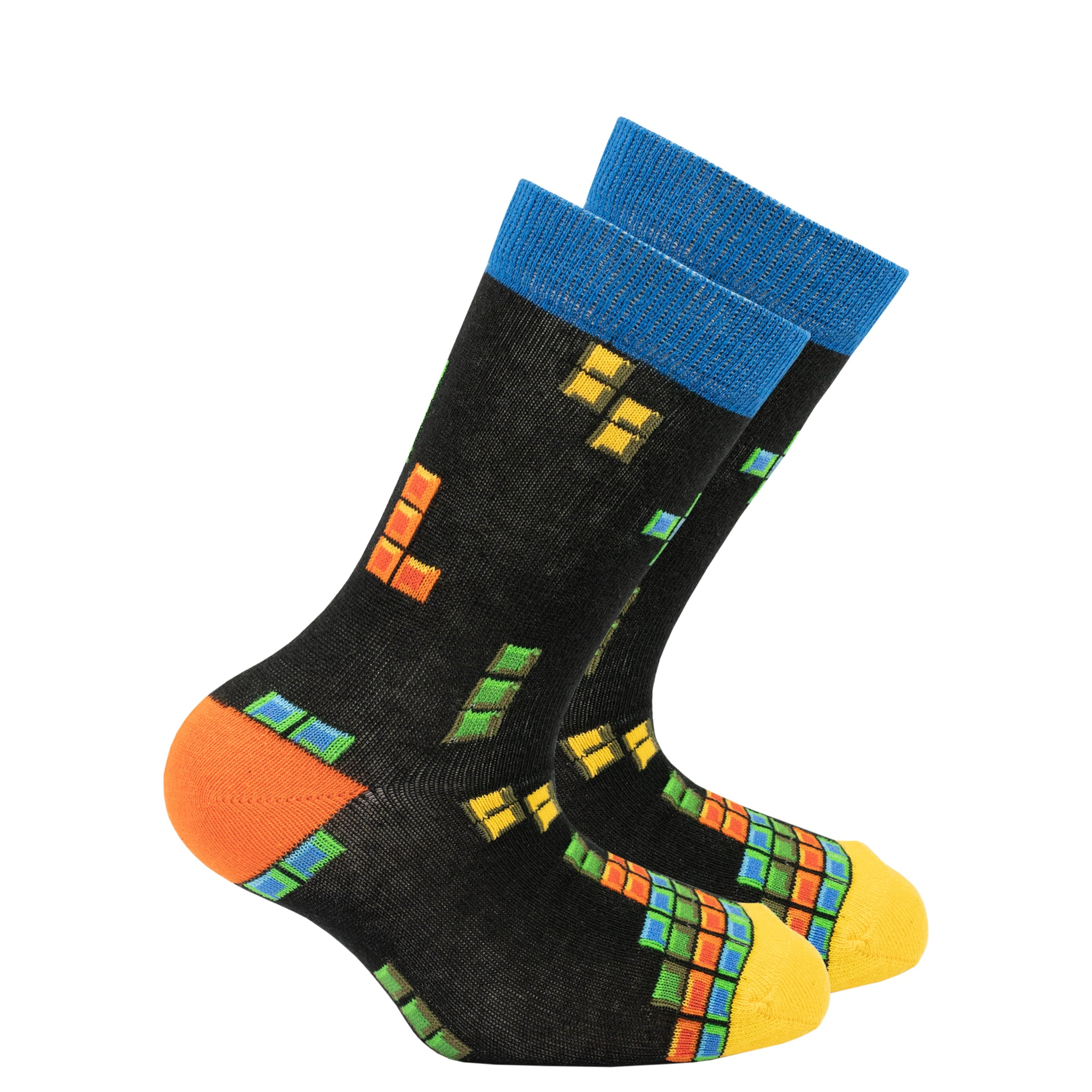 Kids Blocks Socks black blue and yellow