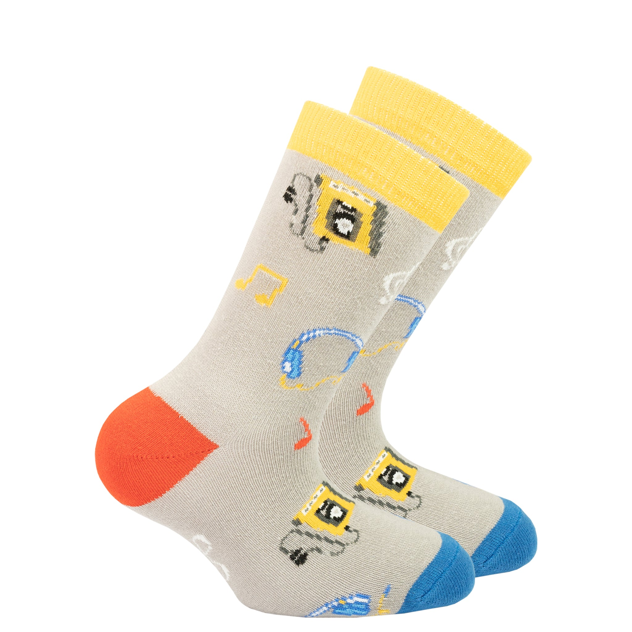 Kids Radio Socks grey and yellow