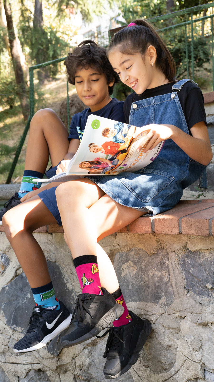 Kids Pizza Chef Socks red and pink
