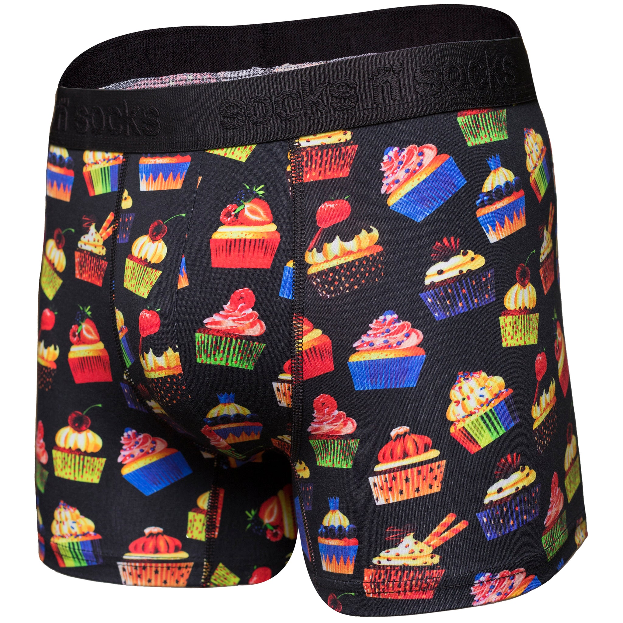Men's Cupcake Boxer Brief black background