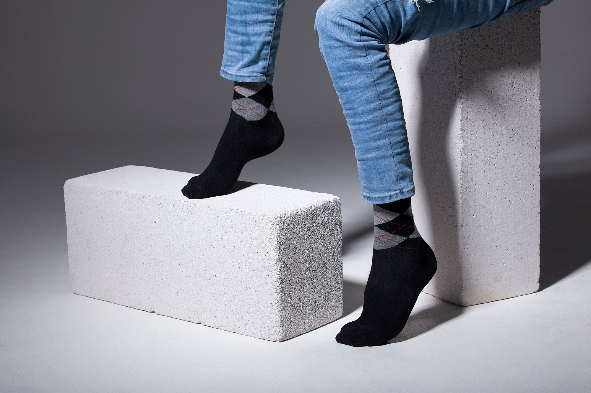 Men's Black Argyle Socks