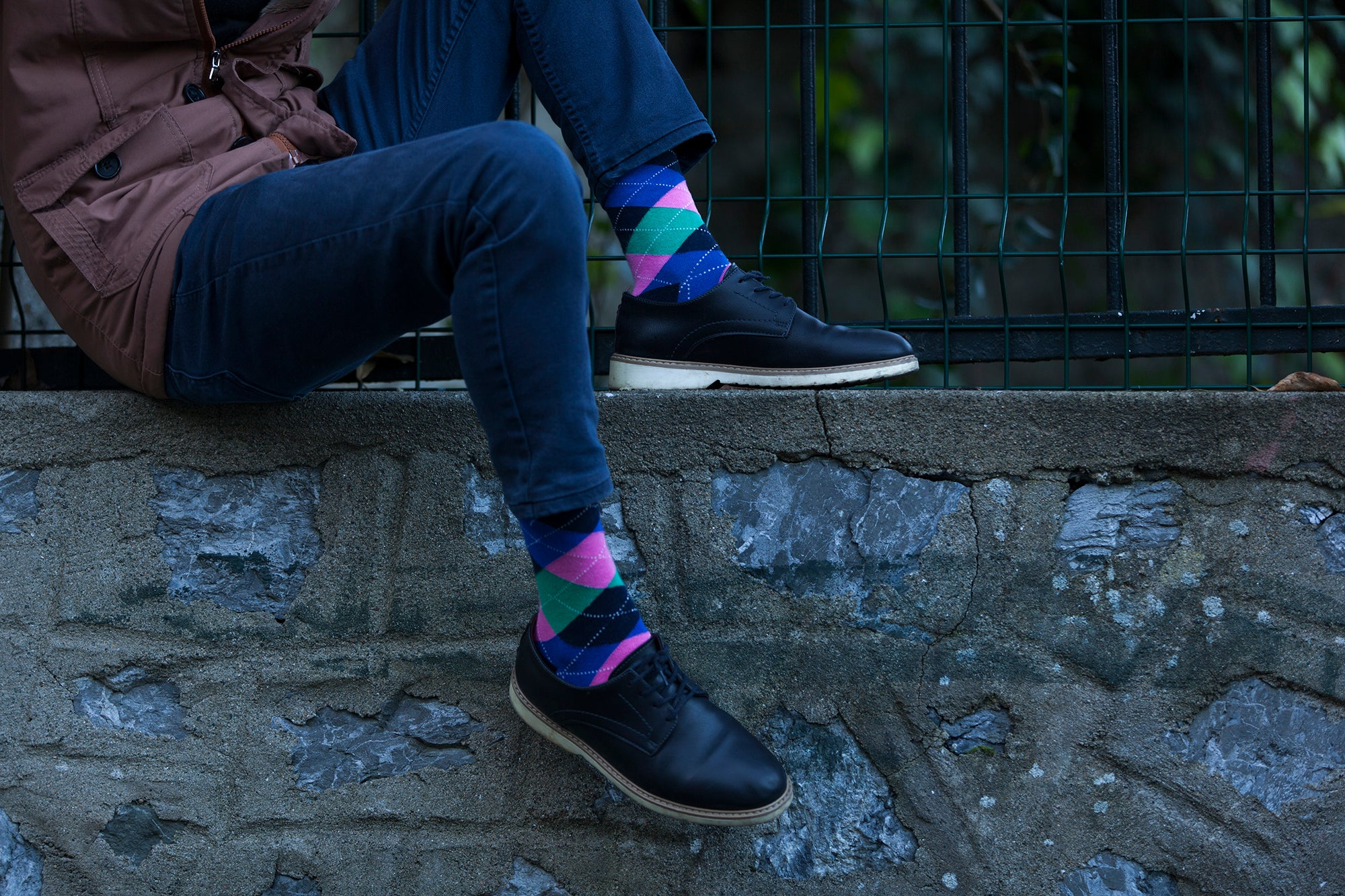 Men's Blue Candy Argyle Socks
