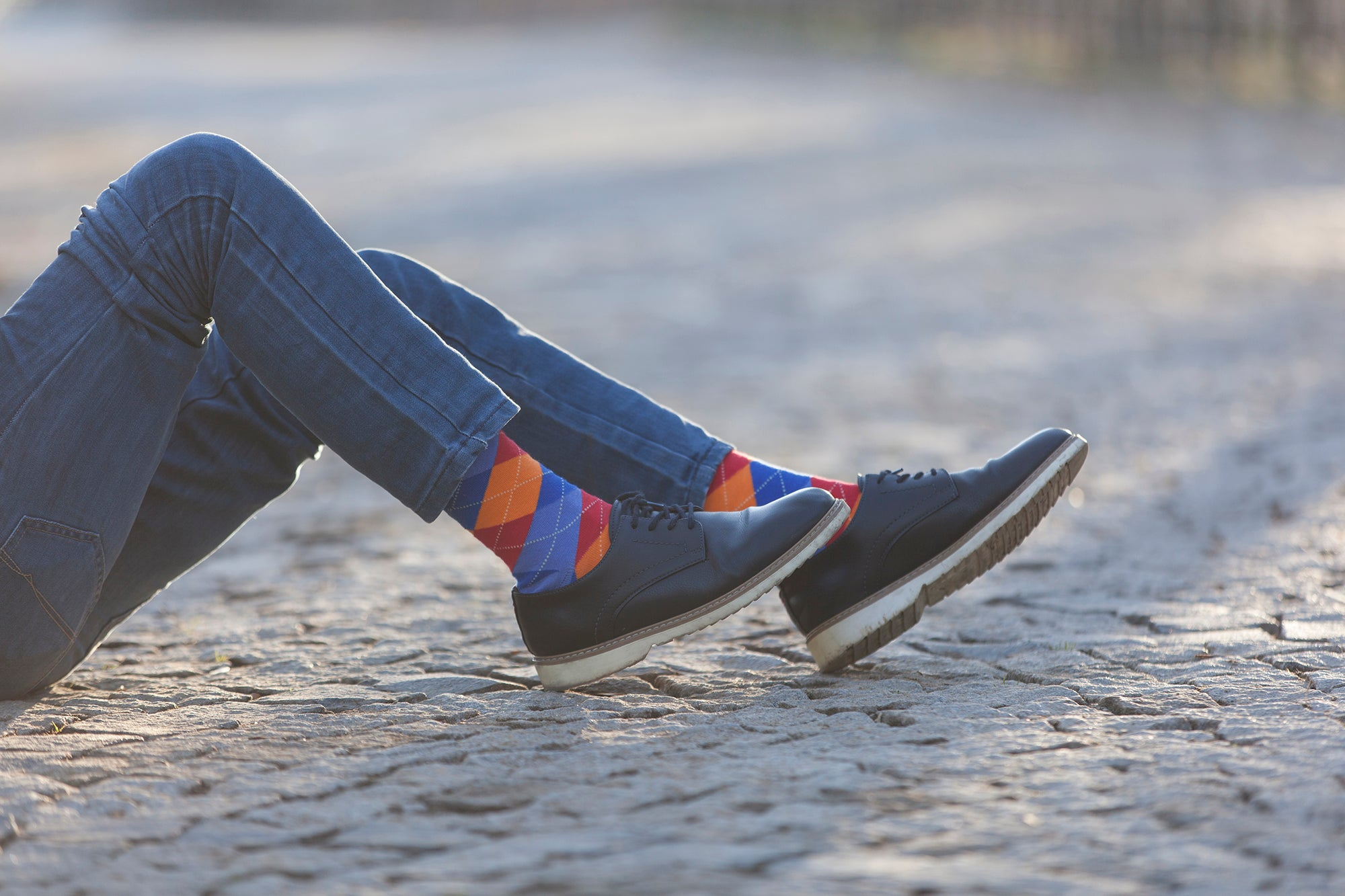 Men's Tangerine Argyle Socks