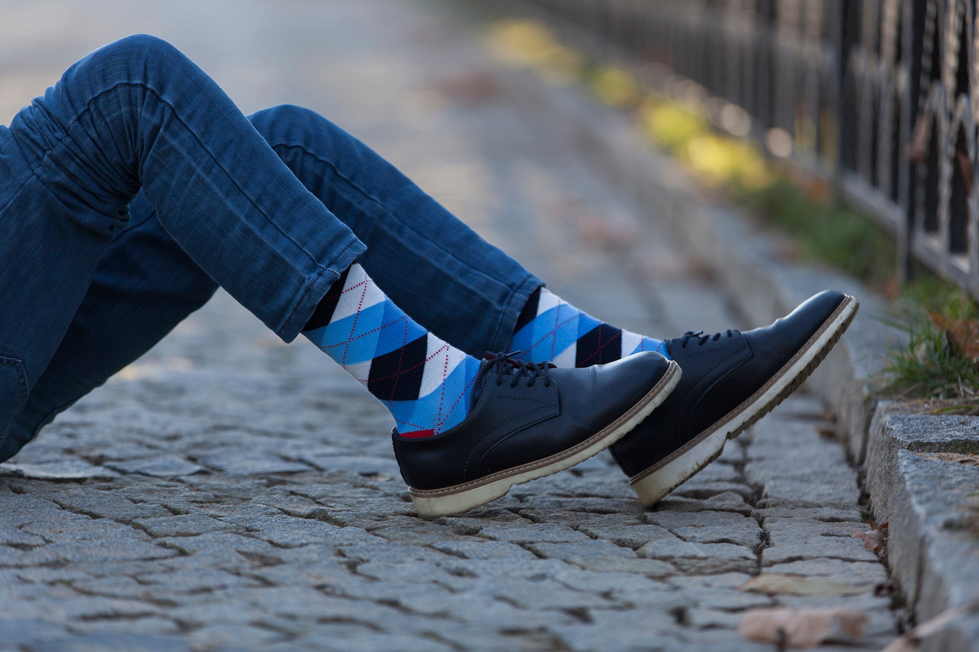 Men's Cerulean Red Argyle Socks