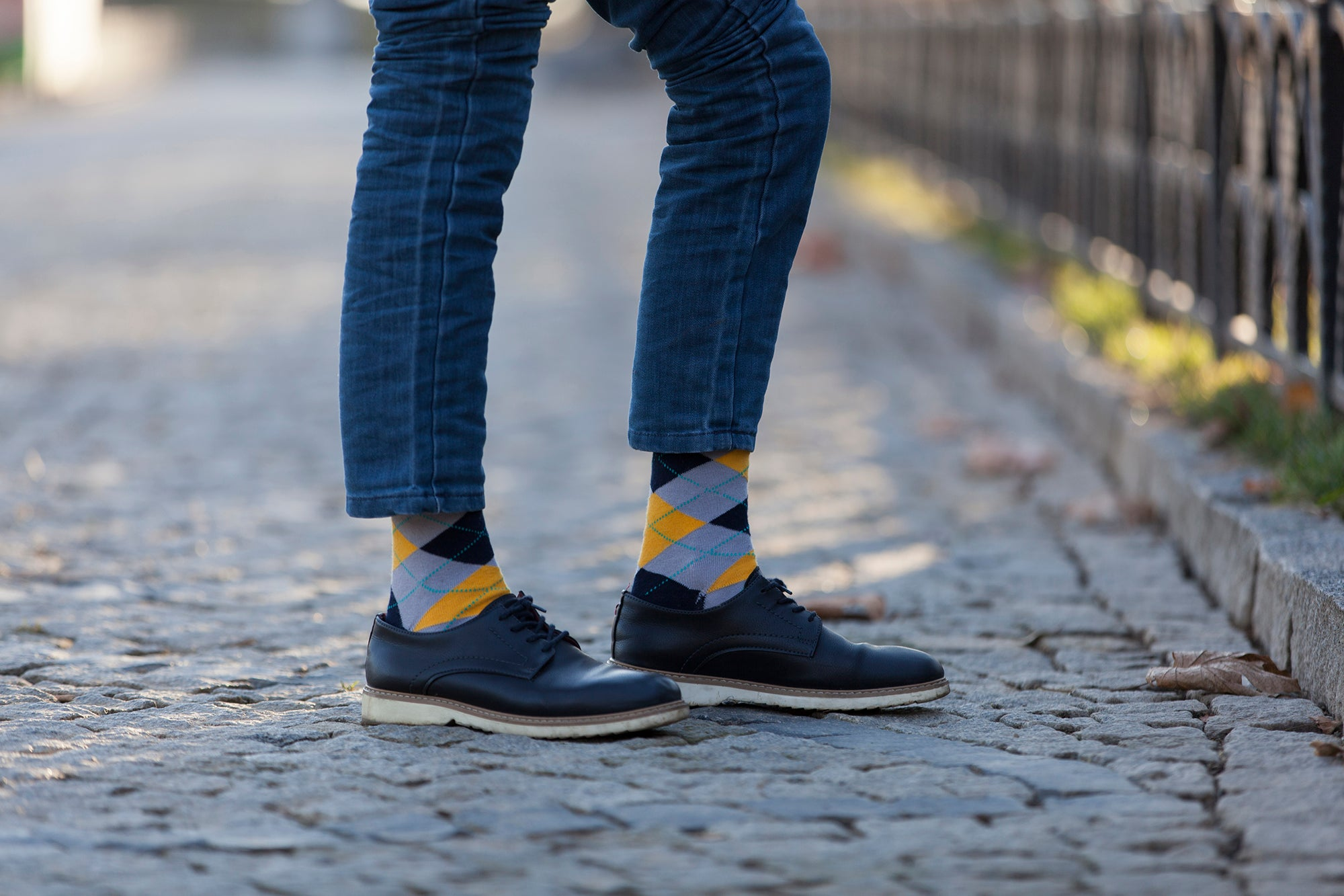 Men's Yellow Stone Argyle Socks