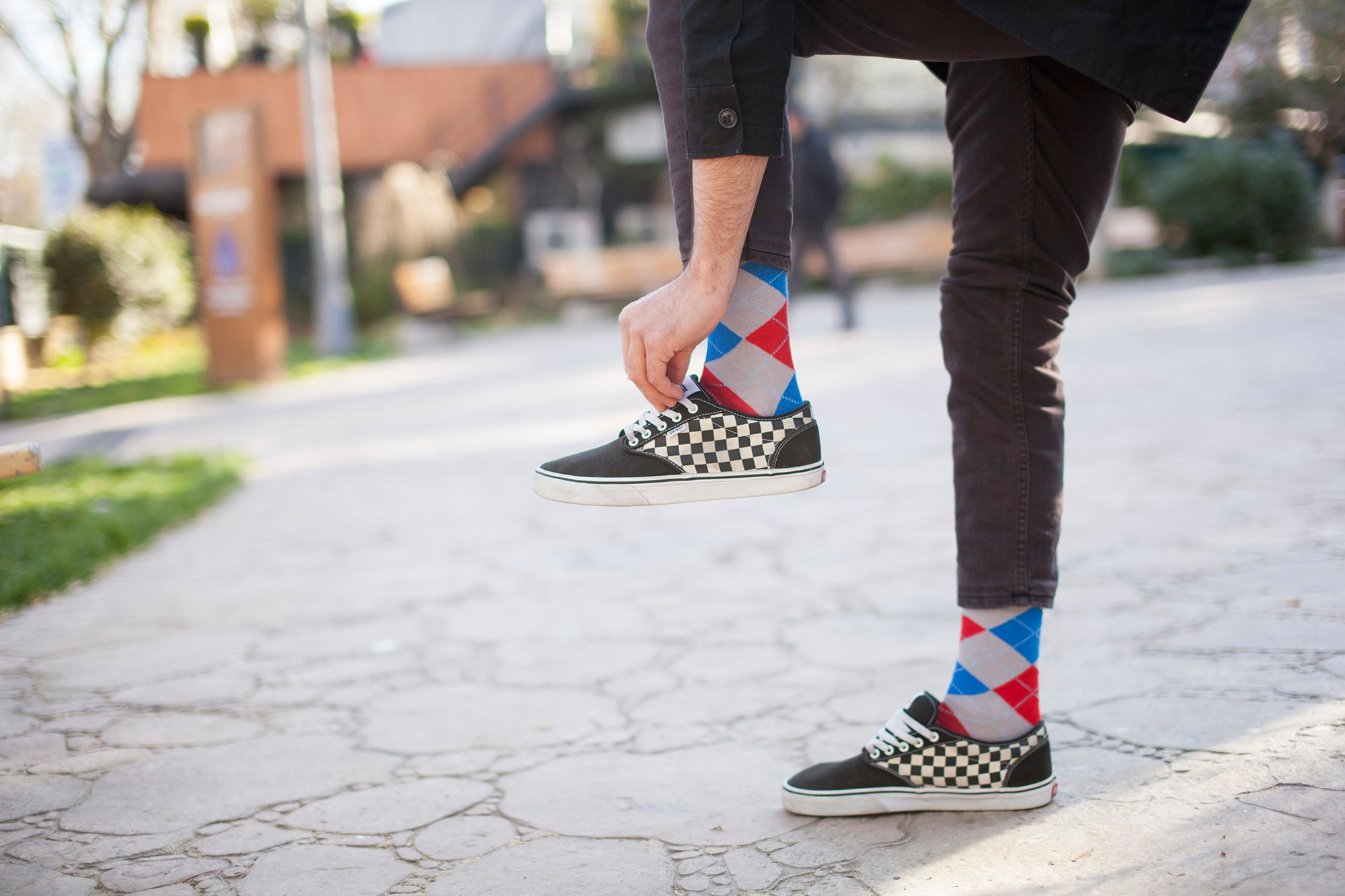 Men's Red Stone Argyle Socks