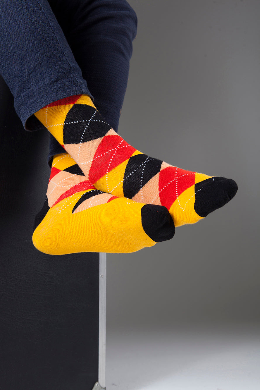Men's Spicy Orange Argyle Socks