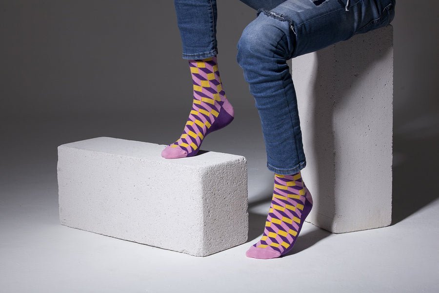 Men's Purple-Yellow Block Socks