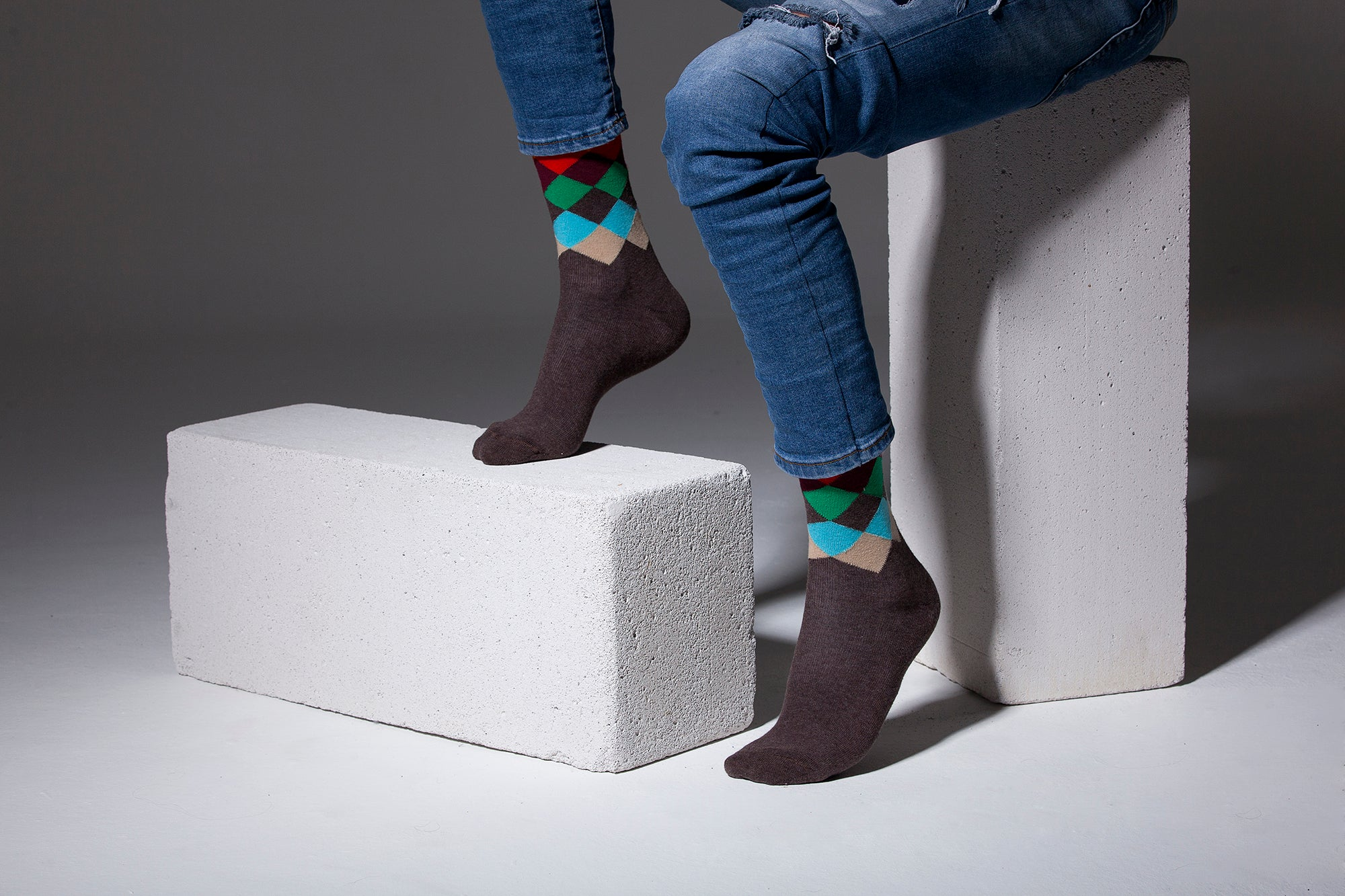 Men's Tobacco Flame Diamond Socks