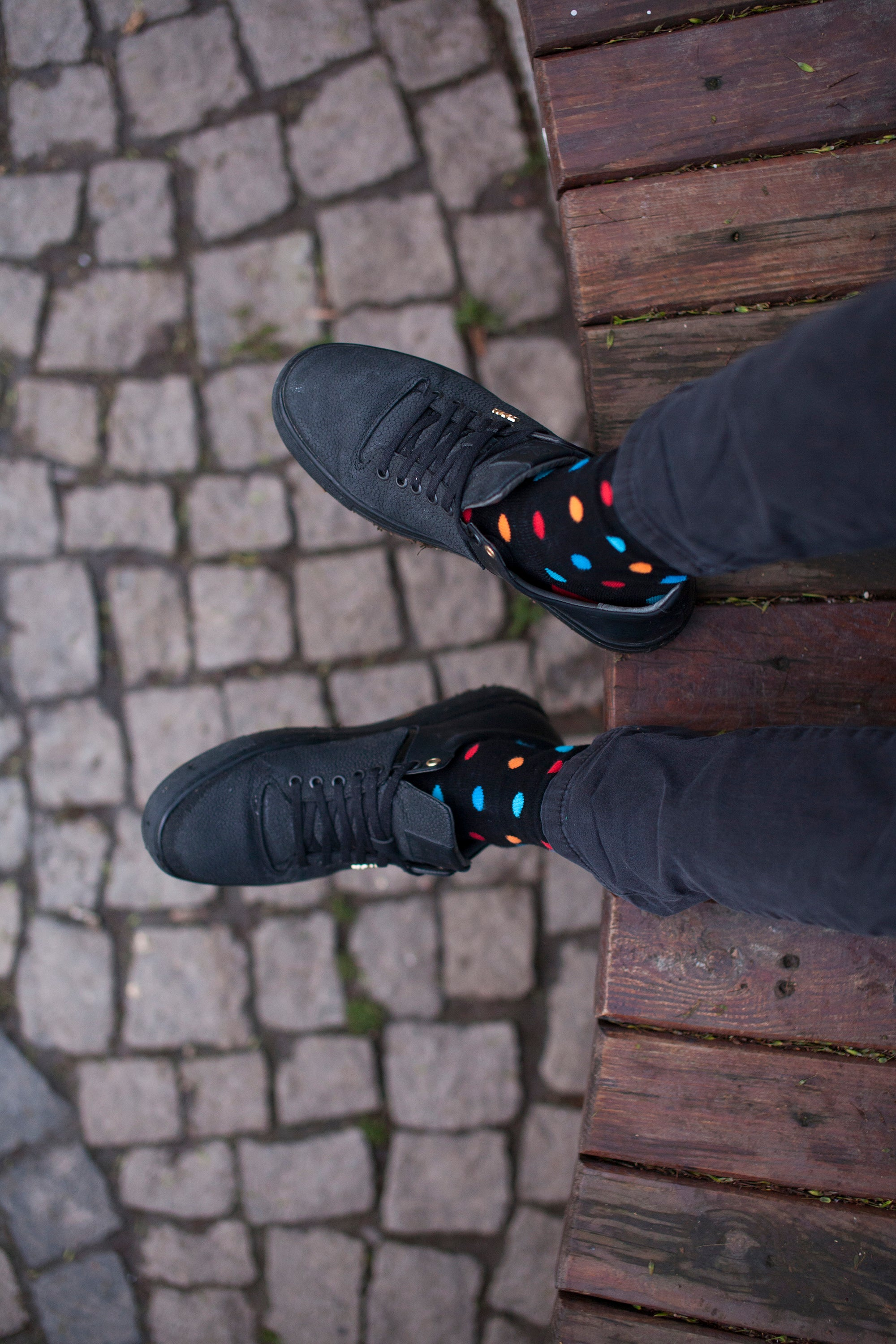 Men's Black Sky Dot Socks