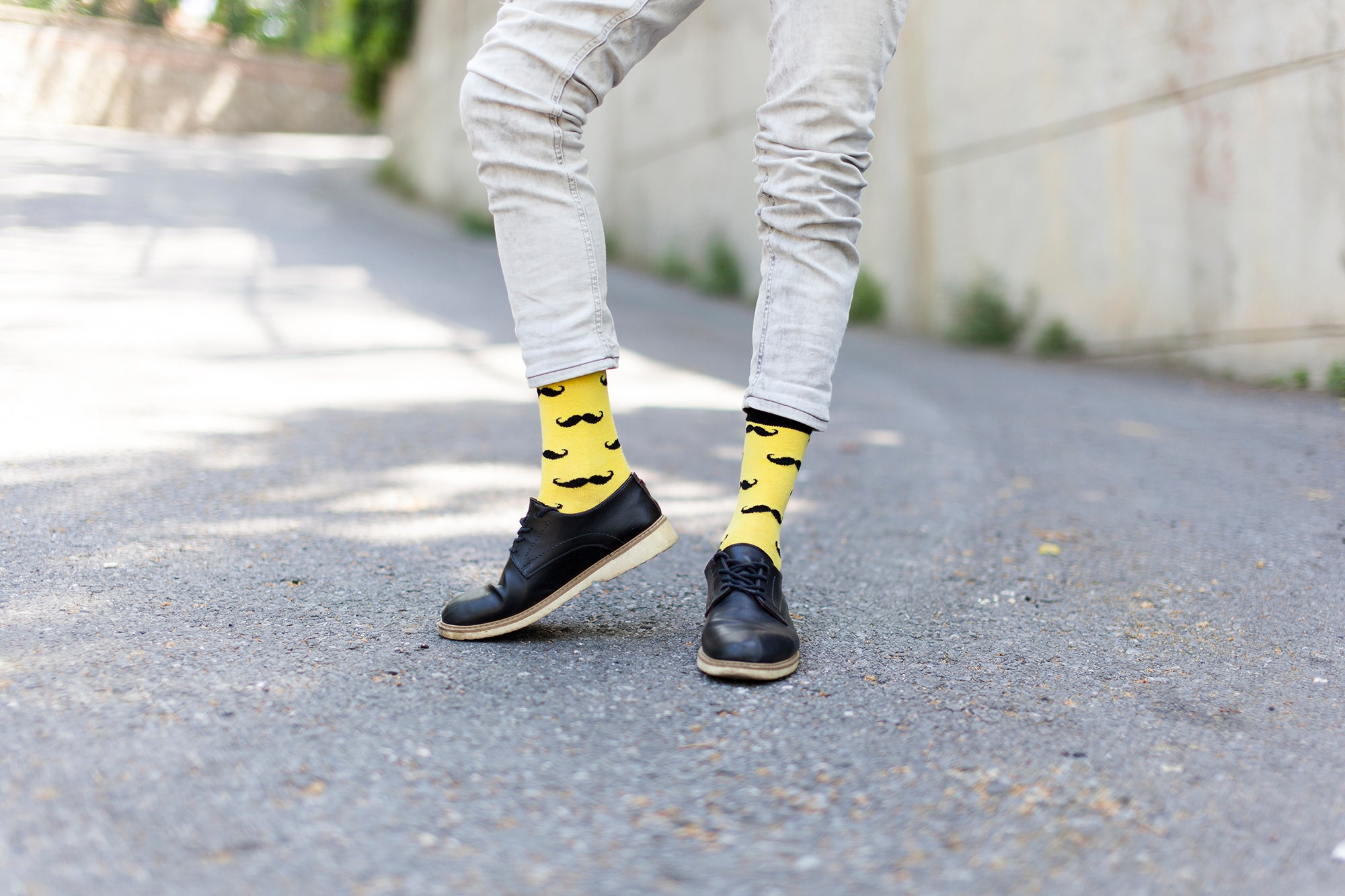 Men's Yellow Mustache Socks