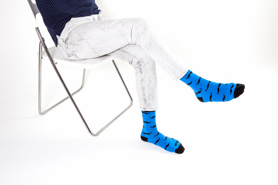 Men's Navy Mustache Socks