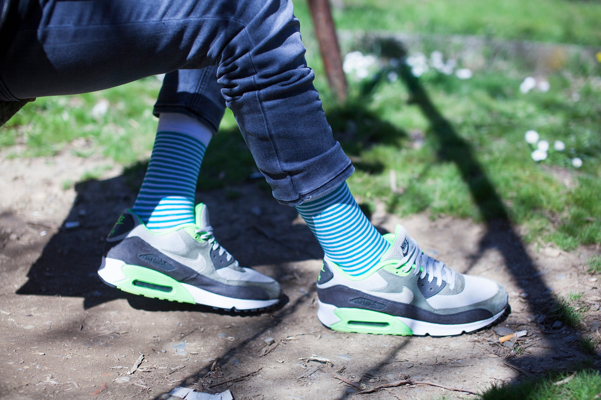 Men's Teal & Black Stripe Socks