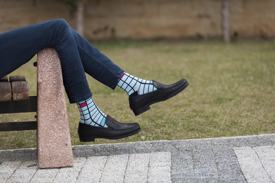 Men's Baby Blue Square Socks